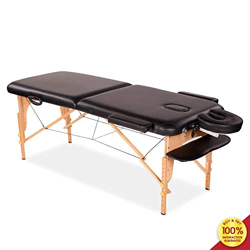 MIERES 1, Adjustable Spa Bed Portable Lightweight Section Right Angle Folding Massage Table, Brown