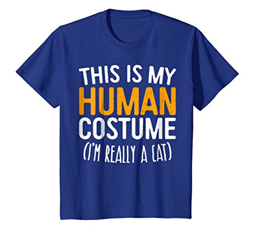 Kids This Is My Human Costume I'm Really A Cat T-Shirt 12 Royal Blue
