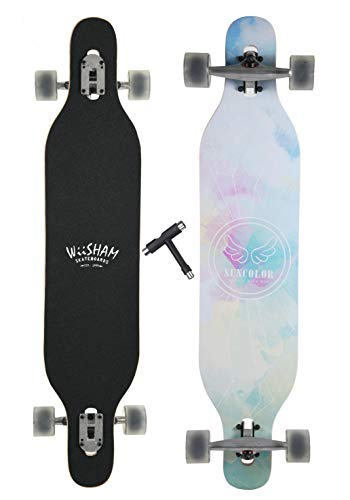 WiiSHAM Professional Speed Downhill Drop Through Complete Longboard Skateboard with Free T-Tools … (63)
