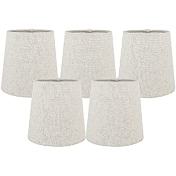 Meriville set of 5 natural linen clip on chandelier lamp shades 4 meriville set of 5 natural linen clip on chandelier lamp shades 4 inch by aloadofball Choice Image