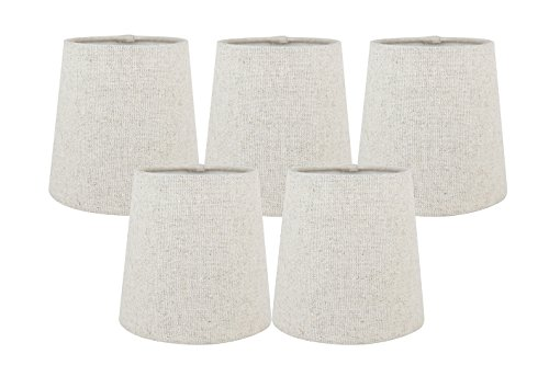 Meriville Set of 5 Natural Linen Clip On Chandelier Lamp Shades, 4-inch by 5-inch by 5-inch (Fabric Chandelier Shade)