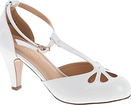 Chase & Chloe Kimmy-36 Women's Teardrop Cut Out T-Strap Mid Heel Dress Pumps (6 B(M) US, White Pat) (White Shoes Vintage)