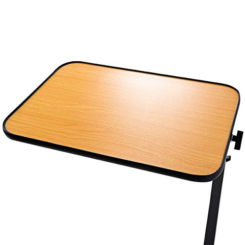 Goplus 2PC Overbed Rolling Table Over Bed Laptop Food Tray Hospital Desk W/Tilting Top by Goplus (Image #3)