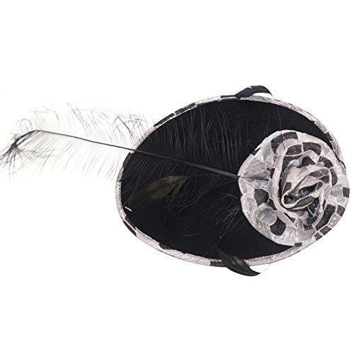 June's Young Femmes Eléglante Fascinator Mini Chapeau Sinamay Bande de cheveux avec Fleur et Plume - Mariage Partie Noir