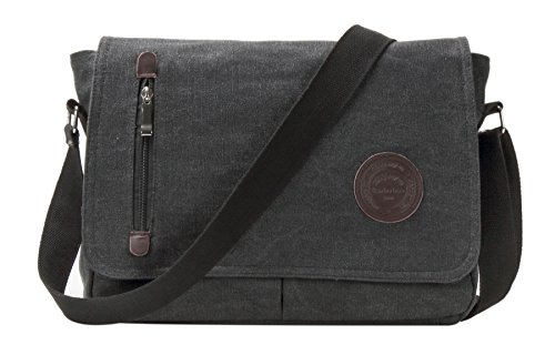 Messager Snap (HONEYJOY Vintage Canvas Messenger Bag Shoulder Bag Laptop Bag Computer Bag Satchel Bag Bookbag School Bag Working Bag (One size, Black))