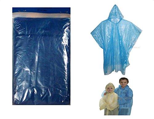 "5 Readi USA Blue Child Size Emergency Kids Rain Poncho - Disposable 40"" x 60"""