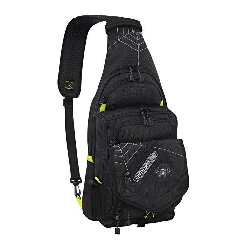 Spiderwire Black Sling Tackle Pack Backpack W/ 1 Medium Box SPB004