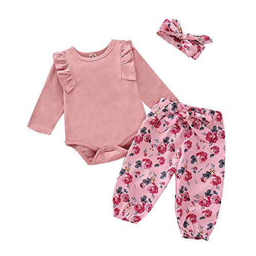 (3 Piece Newborn Infant Kid Baby Girl Floral Clothes Jumpsuit Romper Bodysuit Tops Pants Headbands Outfit (Red, 18-24 Months) )