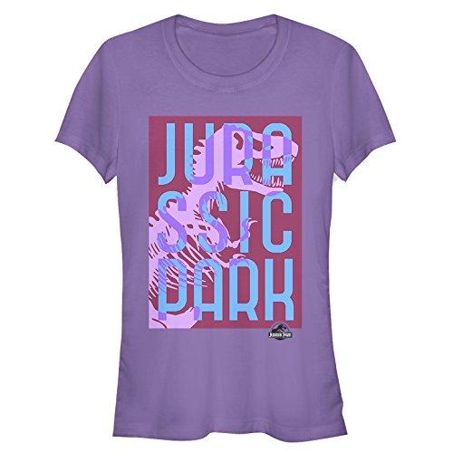 Jurassic Park Juniors' T. Rex Overlap Text Purple T-Shirt Carnivore T-rex Juniors T-shirt