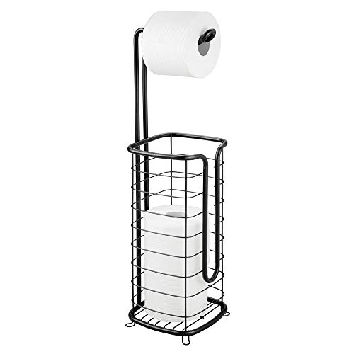 (mDesign Metal Free Standing Toilet Paper Holder Stand and Dispenser, with Storage for 3 Spare Rolls of Toilet Tissue While Dispensing 1 Roll for Bathrooms/Powder Rooms - Holds Mega Rolls - Black)