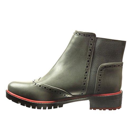 Zapato Derby Botines Tacón 3 Chelsea Zapatillas Perforado Mujer Cm De 5 Gris Boots Moda Talón Angkorly Ancho qfXIP