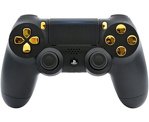 Black/Gold PS4 PRO Modded Controller for Rapid Fire Custom Modded Controller 40 Mods for All Major Shooter Games, Auto Aim, Quick Scope, Auto Run, Sniper Breath, Active Reload & More (CUH-ZCT2U)
