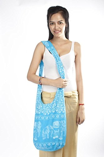 Blue Crossbody Monk Light Bag Buddhist Lofbaz Women's Elephant Cotton Boho 2 wqTIcxAvcF