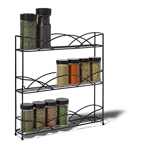 Kitchen Spectrum Diversified Countertop 3-Tier Rack Kitchen Cabinet Organizer or Optional Wall-Mounted Storage, 3 Spice Shelves… spice racks