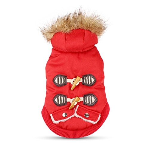 PETLESO Dog Costumes Winter Cotton Padded Coat with Hood for Small Dogs Winter Coat Warm Clothes