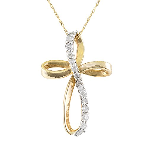 - JewelExclusive 10K Yellow Gold 1/4cttw Natural Round-Cut Diamond (I-J Color, I2-I3 Clarity) Twist Cross Pendant-Necklace,18