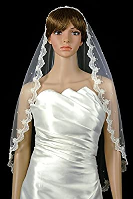 Bridal Mantilla Veil White 1 Tier Fingertip Length Lace Edge Scattered Crystals
