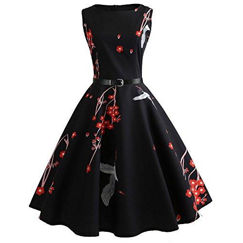 Mrulic Moulante Bal Manches Soirée De Casual Vintage Sans Swing Noir Femme Courtes Robe Manche BqnwSApB