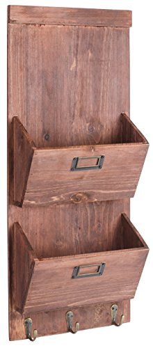 dwellbee-rustic-wood-wall-storage-and-mail-sorter-with-key-rack-2-tier-pine-wood