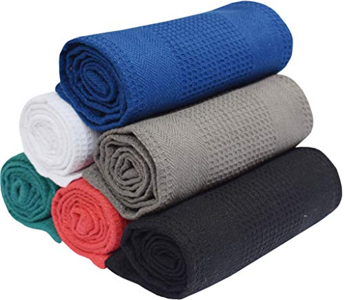 - Multi colors - 16x28-100% Cotton - Waffle Weave - Absorbent - Quick Dry - Heavy Duty - Drying & Cleaning Kitchen Towels - Machine Washable ()