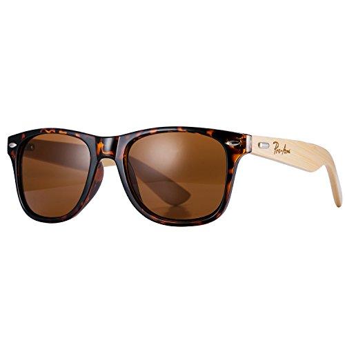 Pro Acme Classic Wayfarer Bamboo Sunglasses Wood Arms Clear Lens Glasses (Brown - Lens Wayfarer Clear Sunglasses