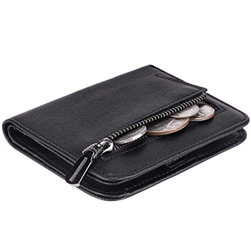 Black Mini Wallet - Itslife Women's Rfid Blocking Small Compact Bifold Leather Pocket Wallet Ladies Mini Purse with id Window (Natural Black)