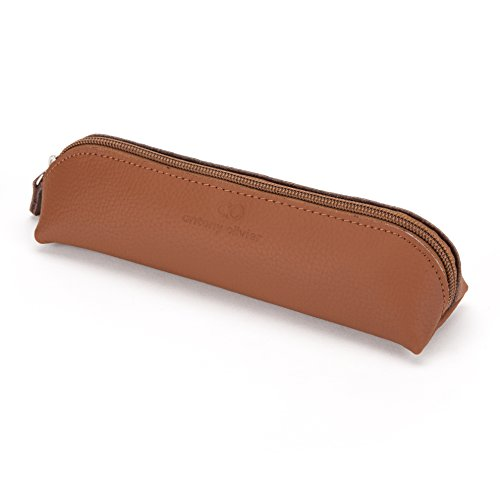 Leather Pencil Box - Antony Olivier #1 Best Quality Real Leather Tan Zippered Pencil Case Pouch for Men, Women, Students & Professionals, for Stationery, Art Utensils, Makeup, Eyeliner, Packaged in a Kraft Gift Box