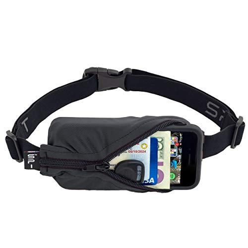 (SPIbelt Running Belt: Original - No-Bounce Running Belt for Runners, Athletes and Adventurers (Anthracite with Black Zipper, 24
