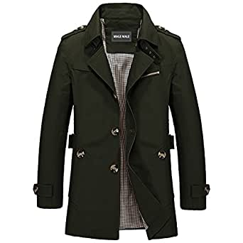 MAGE MALE Men Single Breasted Trench Coat Lightweight Slim Fit Notch Lapel Cotton Jacket