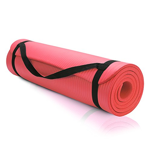 "Athletic Intuition Premium 1/3-Inch Extra Thick / 72"" x 24-Inch High Density Durable Close-foam Tech Exercise Yoga Mat w/ Carry Strap (Red)"