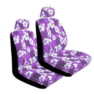 2 Universal-Fit Hawaiian Hibiscus Floral Print Low Back Front Bucket Seat Cover With Separate Headrest Cover - Purple
