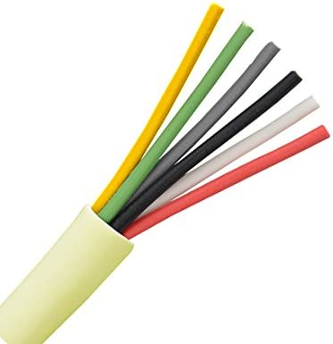 6 Conductor Cable 24 AWG Solid Copper Wire Round Station 500 FT Bulk Cable Roll Beige PVC Jacket Speaker Wire Audio Cable Copper Wire 24//6 Bulk Speaker Cable