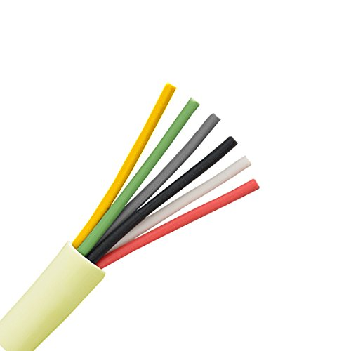 6 Conductor Cable 24 AWG Solid Copper Wire Round Station 500' FT Bulk Cable Roll Beige PVC Jacket Speaker Wire Audio Cable Copper Wire 24/6 Bulk Speaker Cable