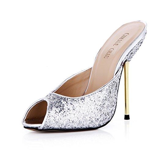 a da Scarpe Peep a Toe Sexy Spillo Alto Moda Metallo Argento Partito Tacco CHAU d Tacco CHMILE Donna Sandali SqEv0w55Z