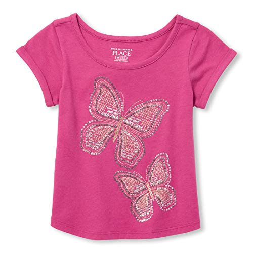 The Children's Place Girls' Toddler Short Sleeve Graphic Tops, Orchid Dream, 4T