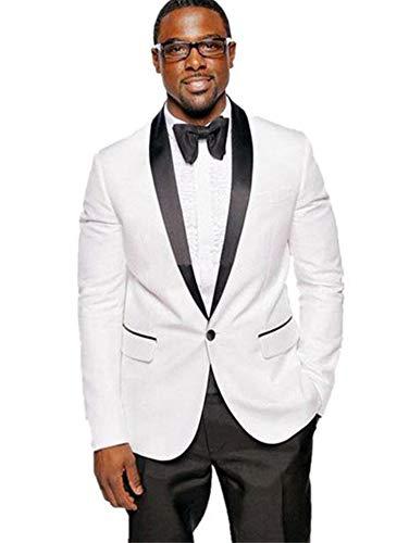 MYS Men's Custom Made Groomsman Shawl Black Lapel Tuxedo Suit Pants Set White Size 40R ()
