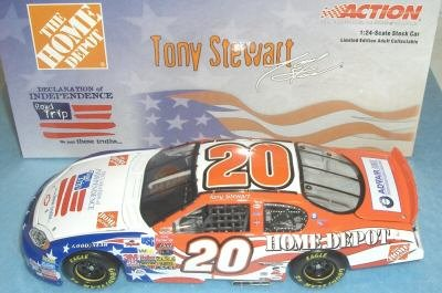(Tony Stewart #20 Home Depot Independence Day Special Paint Scheme 1/24 Action Racing Collectables Limited Edition Diecast Only 23940 Made by Nascar)