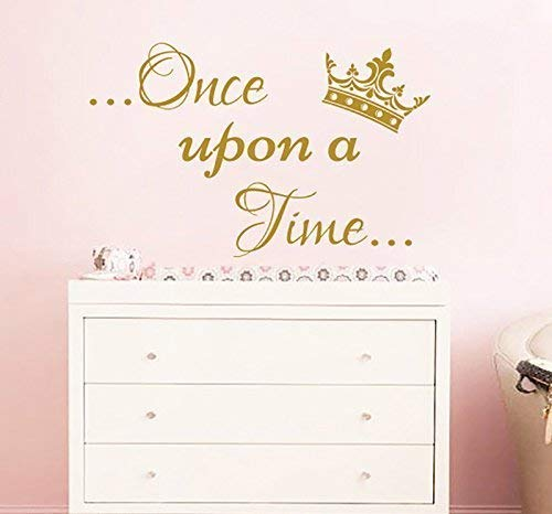 Once Upon A Time Wall Decal. Wall Sticker For Girls Crown Vinyl Nursery Wall Art. Once Upon Decal. Nursery Wall Decor. Girls Room Wall Decor F57