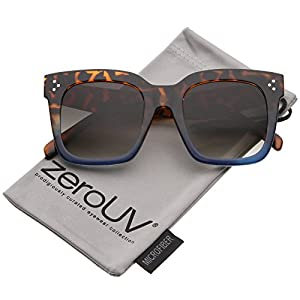zeroUV - Bold Flat Lens Oversized Square Frame Horn Rimmed Sunglasses 50mm (Tortoise-Blue Fade / Lavender)