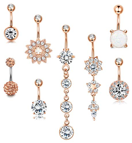 LOYALLOOK 14G Surgical Steel Belly Button Rings Dangle for Women Girls Navel Rings Opal Flower CZ Body Piercing Rose Gold Tone