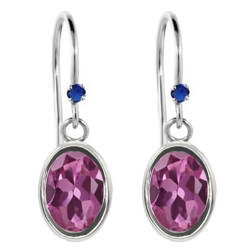 Pink Sapphire Tourmaline Ring - 1.72 Ct Oval Pink Tourmaline Blue Simulated Sapphire 925 Sterling Silver Earrings