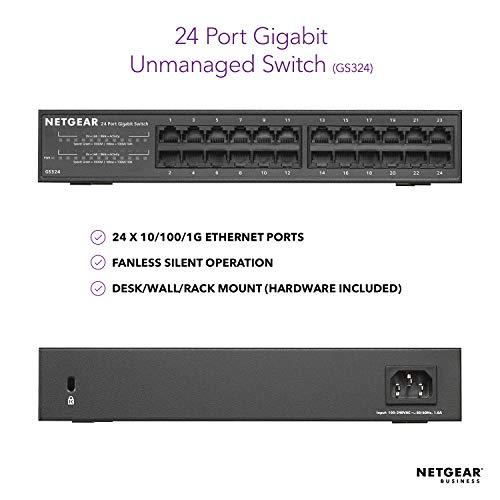NETGEAR 24Port Gigabit Ethernet Unmanaged Switch GS324  DesktopRackmount Fanless Housing for Quiet