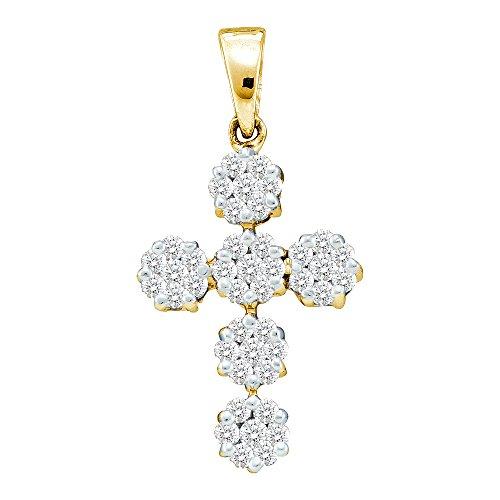 14kt Yellow Gold Womens Round Diamond Cluster Cross Faith Pendant 1/2 Cttw