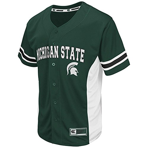 Mens NCAA Michigan State Spartans Baseball Jersey (Team Color) - L