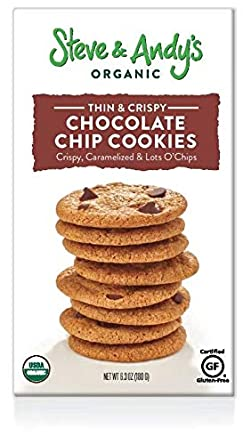 Organic Chocolate Chip Cookies, Gluten Free by Steve and Andys -- Crispy and Crunchy Cookie, Non GMO, No Corn Syrup, No Tree Nuts, Kosher (Chocolate ...