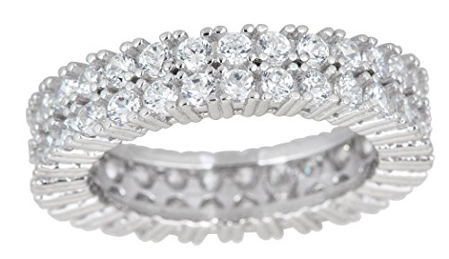 Sterling Silver 2 Row Prong Set Round Cut Cubic Zirconia Eternity Band Ring by Decadence