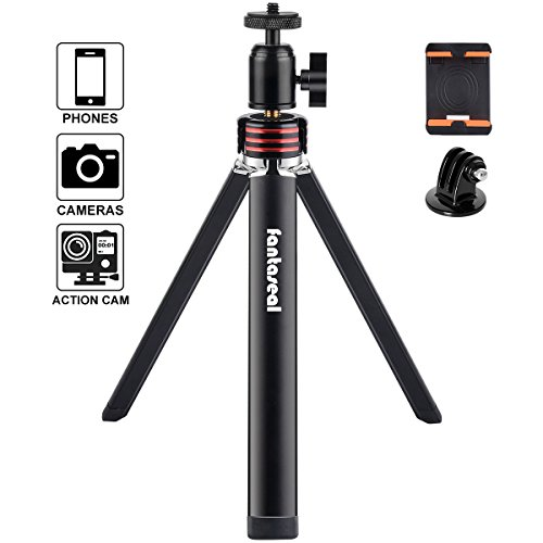 DSLR Camera+ Action Cam+ Smartphone Mini Tripod 3-in-1 Aluminum Alloy Desk Tripod Compatible for iPhone Huawei + Canon Nikon Camera/Comcorder+ GoPro Sony SJCAM Xiaomi Yi Tripod Selfie Stand Holder