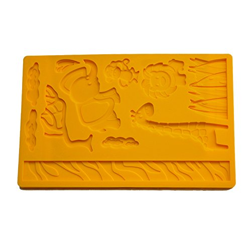 3D Lace Silicone Jungle Zoo Animal Fondant Cake Biscuit Chocolate Mold Mould for Kitchen Baking Dessert Plating Design and (Lace Biscuit)