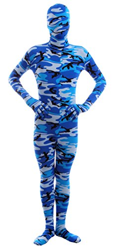 Marvoll Lycra Spandex Camouflage Full Bodysuit Zentai Halloween Costume (X-Large, Blue)