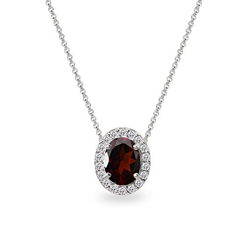 Sterling Silver Garnet Oval Halo Slide Pendant Necklace with CZ Accents ()